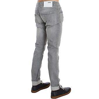 Acht Gray Wash Denim Cotton Stretch Slim Fit Jeans