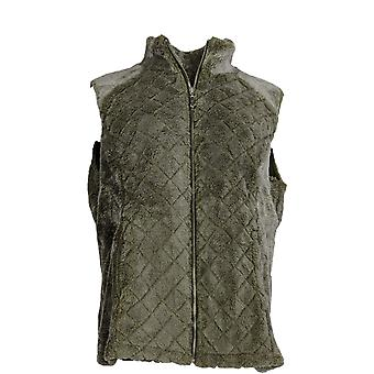 Denim and Co. Femmes-apos;s Courtepointe Zip Front Frosted Sherpa Vest Vert A342723