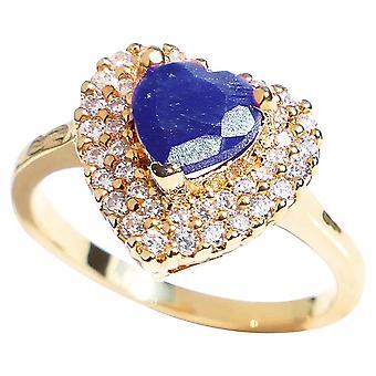 اه! المجوهرات الثمينة حقيقية 1.25CT الياقوت القلب الأحجار الكريمة خاتم الخطوبة.