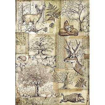 Stamperia Rice Paper A4 Deer and Wild Boar