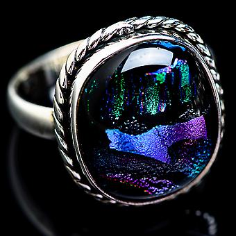 Large Dichroic Glass Ring Size 13.25 (925 Sterling Silver)  - Handmade Boho Vintage Jewelry RING2925