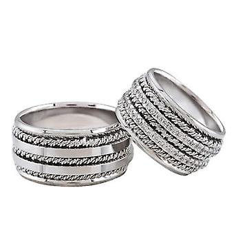 White gold wedding rings with double row of diamonds