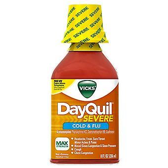Wick Dayquil strenger Kälte & Grippe, max Stärke, Flüssigkeit, 8 oz