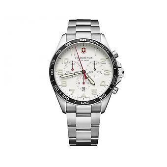 Assista Victorinox 241856-FieldForce cronógrafo/prata aço inoxidável branco Dial branco homens