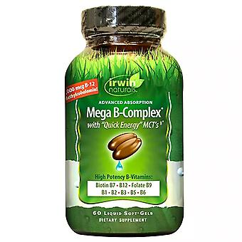 Irwin naturals mega b-complex with quick energy, softgels, 60 ea