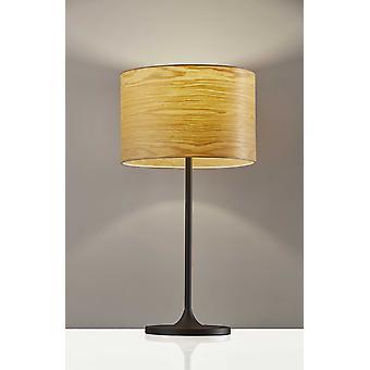 Homespun Wood Grain Shade Black Metal Table Lamp