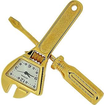 Miniature Goldtone Spanner & Screwdriver Tool Set Collectors Clock IMP1033