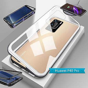 För Huawei P40 Pro Magnet / Metal / Glasfodral Bumper Transparent / Silver Case Sleeve Ny
