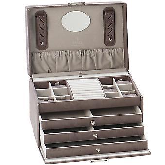 תכשיטים Sacher תכשיטים תיבת תכשיטים עור מגירות אפורות נעילה מנעול