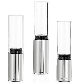Blomus lanterns set FARO 3 pieces, stainless steel polished glass combined with