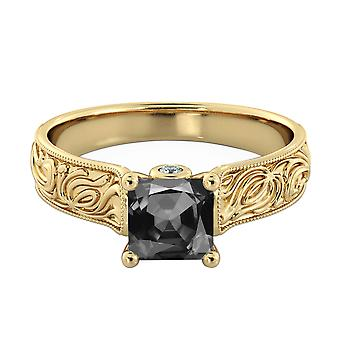 14K Gelb Gold 1,06 CTW Black Diamond Ring mit Diamanten Vintage Hand graviert Art Deco