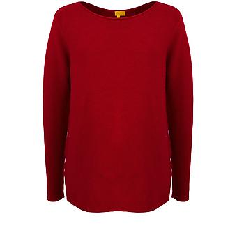 Yellow Label Red Ribbed Knit Jumper
