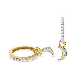 Earrings Hoops Moon 18K Gold and Diamonds - Yellow Gold