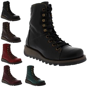 Womens Fly London Same Rug Leather Combat Wedge Heel Military Ankle Boots