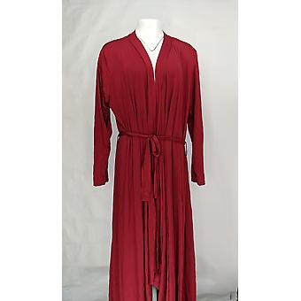North Style Women's Robe Long Length Knit Brick Red