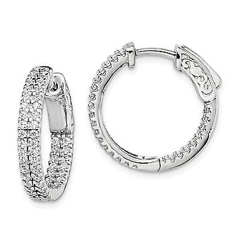 925 Sterling Silver Pave Polished Hinged hoop Rhodium plated .8 inch diameter CZ Cubic Zirconia Simulated Diamond Hoop E