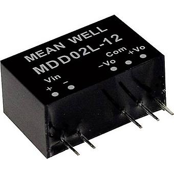 Mean Well MDD02N-12 DC/DC converter (module) 83 mA 2 W No. of outputs: 2 x