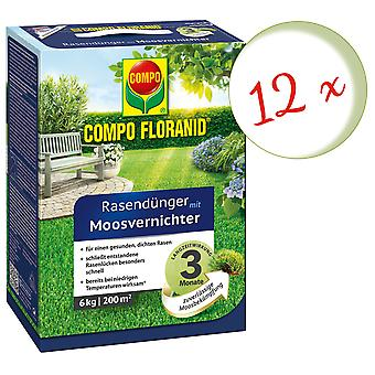 Sparset: 12 x COMPO Floranid® lawn fertilizer with moss killer, 6 kg