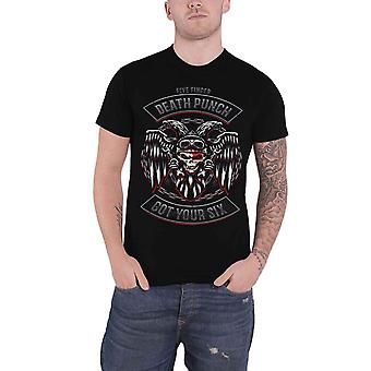 Five Finger Death Punch T Shirt Biker Badge Band Logo new Official Mens Black