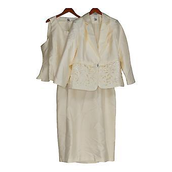 Masseys Women's Plus Cutout Long Sleeves 3 Piece Dress Suit Ivory