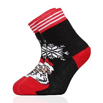Christmas Santa Claus Unisex Kids Black & Red Crew Socks