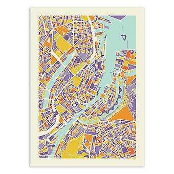 Art-Poster - Kopenhagen Regenboog kaart - Muzungu