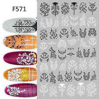 3d Nail Art Decorations With Black White Letter Stickers For Nails - Flower Leaf Linear Design