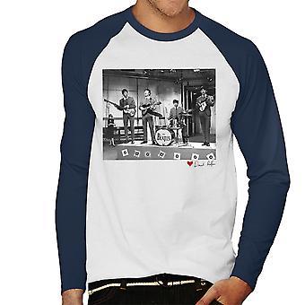 Beatles valmis tasaisesti mennä Lontoossa 1964 valkoinen miesten Baseball pitkähihainen t-paita