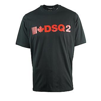 Dsquared2 DSQ2 נמושה מתאים חולצת טריקו שחורה