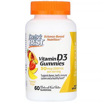 Doctor's Best, Vitamin D3 Gummies, Tropical Tango, 50 mcg (2,000 IU), 60 Gummies