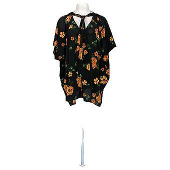 Laurie Felt Women's Plus Top V-Neck Printed Scarf Blouse Black A367033