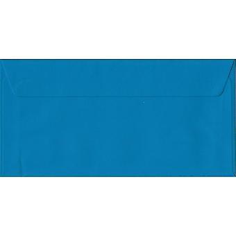 Kingfisher Blue Peel/Seal DL Coloured Blue Envelopes. 100gsm FSC Sustainable Paper. 110mm x 220mm. Wallet Style Envelope.