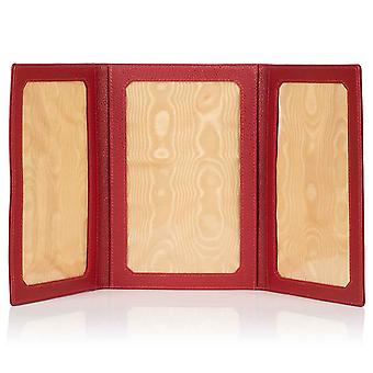 "Red Malvern Leather Triple Folding Photo Frame 6"" x 4"""