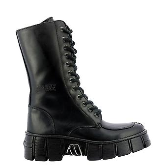 Nieuwe Rock Wall029nc1 Women's Black Leather Enkellaarsjes