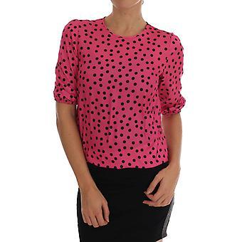 Dolce & Gabbana Pembe Polka Noktalı İpek Bluz TSH1639-4