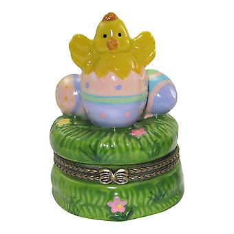 Easter Chick Popping Out of Easter Eggs Porcelain Hinged Trinket Box