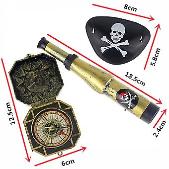 Kid's Pirate Party-toys Supplier-plastic Pirate-patch With Skull Dress Up Prop Compass Mini-telescope-halloween (sky Blue)
