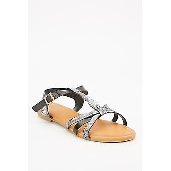 Criss Cross Strap Black Sandals