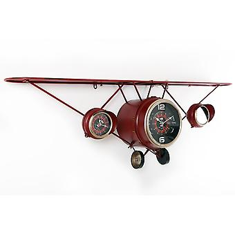 125X40Cm Metal Red Plane Shape Wall Hanging Clock With Shelf With 3 Clocks