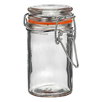 Argon Tableware Glass Spice Jar with Airtight Clip Lid - 70ml - Orange Seal