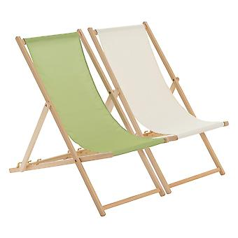 Traditional Adjustable Beach Garden Deck Chairs - Lime Green / Cream