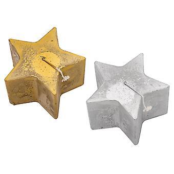 Nicola Frühling 6pc Stern geformt Metallic Kerze Set - große Luxe Kerzen - 75 Stunden Brennzeit - Gold & Silber - 13,5 x 8,5 cm