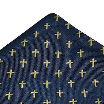 Ties Planet Christian Cross Navy Blue Pocket Square zsebkendő