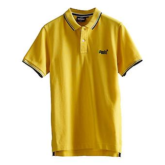 Superdry Organic Cotton Classic Poolside Pique Polo Shirt - Bright Yellow Twist