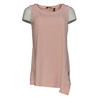 H Di Halston Women's Top Donegal Knit U-Neck Sleeveless Tunic Pink A306894