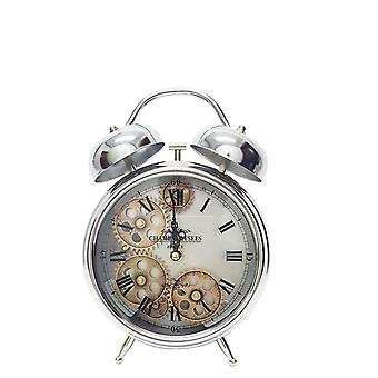 Newton alarm moving cogs bedside clock - silver