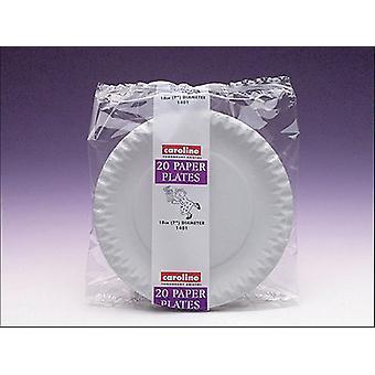 Caroline Paper Plates Biały 7w x 20 1401