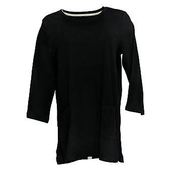 Isaac Mizrahi Live! Damen's Top 3/4 Sleeve Tunika w / Taschen schwarz A366339