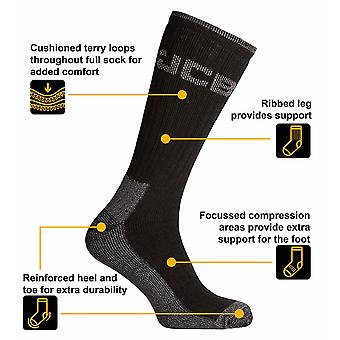 Official JCB Hosiery Range - Heavy Duty Work Socks 6-11 6pk Black