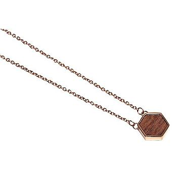 BeWooden Rea Hexagon Necklace - Rose Gold/Brown